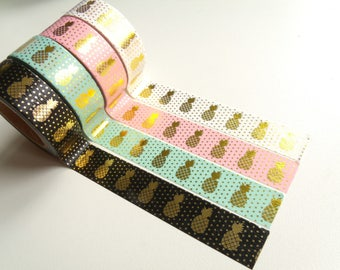 Masking Tape Washi Tape tape white pineapple gold 10 m