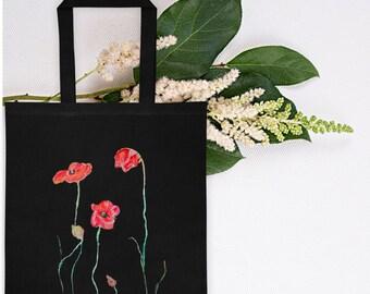 Black Flower Print Canvas Bag