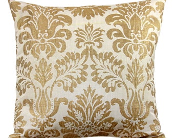 White and Gold Leaf Decorative Pillow Cover 24 Inch (Euro), 20 Inch, Lumbar