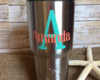 Personalized Decal/Monogram Decal/Name Decal/Yeti Decal/RTIC Decal/Car Decal/Laptop Decal/Name Sticker
