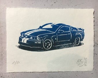 Ford Mustang in red or blue - original linocut print with watercolor