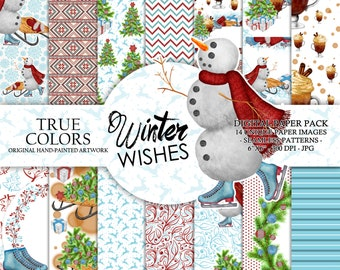 Winter Wishes Digital Paper Pack Watercolor Hand-painted Red Blue Nordic Scandinavian Pattern Snowman Christmas Tree Ornaments Sledge Scarf