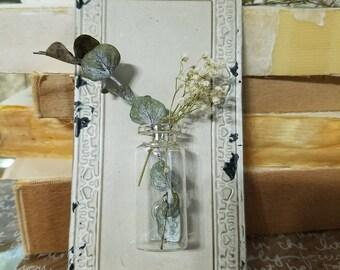 Petite tin and glass flower vase, bud vase, wedding decor