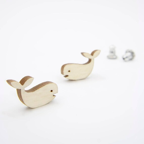 Modern Birch Whale Stud Earrings