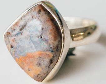 All Natural Mexican Fire Opal • solid sterling SILVER • Ring • Size  6