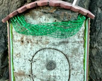 Fairy Door / Gnome Door, Aspen bark, Wood, Purple Heart shingles, Door Opens, Indoor/Outdoor, Chimney, String, leaf sequins, mesh