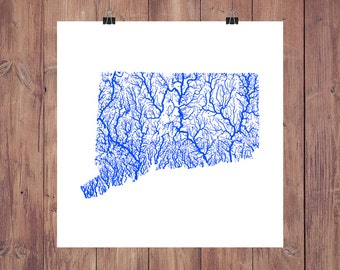 Connecticut Map - High Res Digital Map of Connecticut Rivers / Connecticut Print / Connecticut Art / Connecticut Poster / Connecticut Gifts