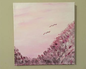 "Serene Valley - art wall décor acrylic painting, 12""x12"" canvas stretched/wrapped on 5/8"" bars"