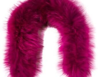 Raccoon Fur Hood trim, fur trim  (fuchsia)