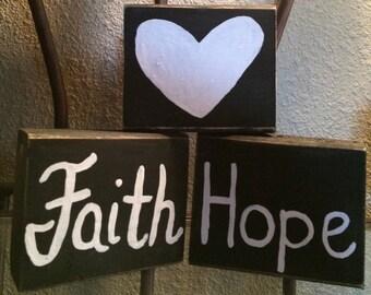 Faith, Hope, and Love Wooden Block Set