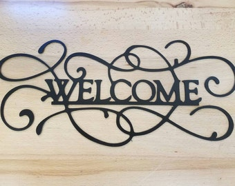 Welcome Sign metal wall art plasma cut decor