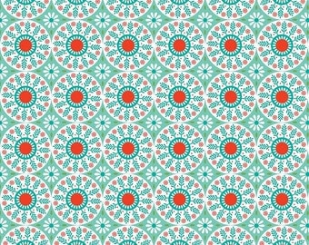 Teal Medallion Fabric - Ardently Austen Fabric - Blue and Red Material