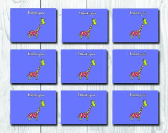Giraffe Thank You Card Set, 9 Children Thank you Cards, Funny Cute Party Cards, Greetings Cards Pack, Wishes for Boys and Girls,Blank inside
