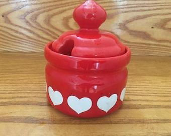 Vintage German Waechtersbach Valentine Heart Red & White Sugar Bowl Dish with Lid