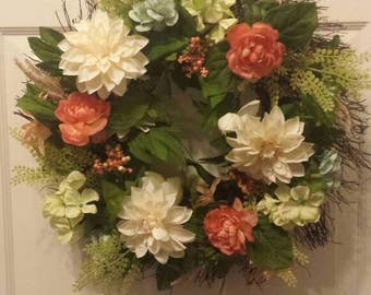 Summer wreath / spring wreath / front door wreath / holiday wreath / door wreath / flower wreath