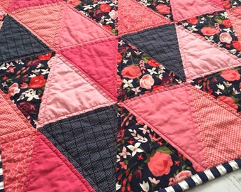 Modern Triangle Quilt - Posey Garden Quilt - Lap Blanket in Coral and Navy