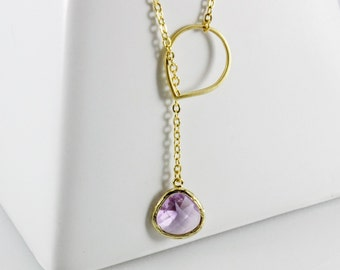 14k Gold Plated Adjustable Necklace with Gold Framed Glass Stone Pendant