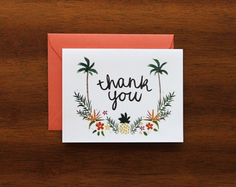 Thank You Card - Tropical flowers - A2