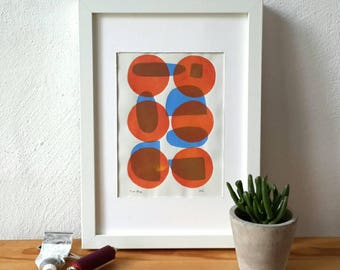 Monoprint, abstract monotype, desk decor, original artwork, linoprint, blockprint art, modern art, abstract art, geometric circle pattern