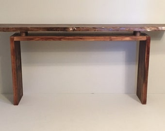 sofa table, entryway table, floating walnut top