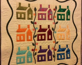Machine quilted wall hanging