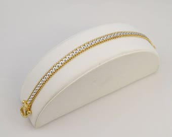 14k Yellow Gold Two Toned Chain Link Buckle Clasp Bracelet 12 Grams
