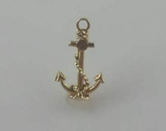 14k Yellow Gold 3-d Figural Nautical Anchor Boat/Ship Pendant/Charm