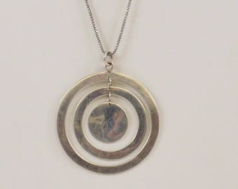 Sterling Silver 925 Mid Century Modern Circle Necklace 16.5'' Long(00957)