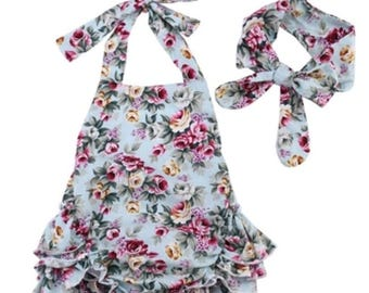 Floral ruffled Playsuit with matching headband