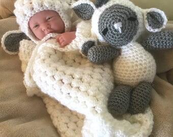 Baby Lamb Cocoon / 0-3 months / Handmade Crochet / Sleep Sack / Cuddle Sack / White / Gray / Acrylic / Hat / Stuffed Animal
