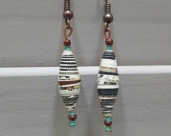 Paper Bead Dangle Earrings
