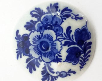 Holland Delfts Brooch Hand Painted 1960s Blue Flowers