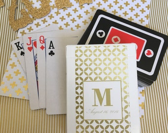Custom Set Of 10 Personalized Gold Geometric Wedding Favor Playing Card Stickers With Black And Red