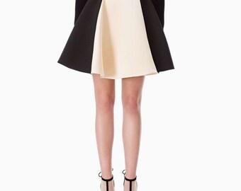 Midi skirt in black/cream-tone vintage wheel