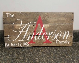 Personalized Wood Signs, Wedding Gift Sign, Pallet Last Name Sign, Personalized Wood Sign, Established Date Family Sign,Weathered sign