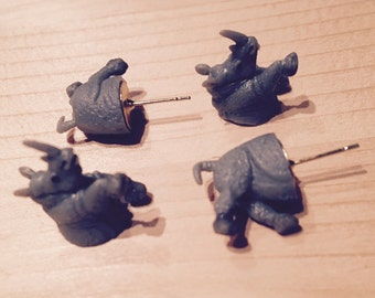 Rhino Stud Earrings (fake gauges)