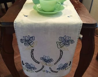 Beautiful hand embroidered linen table runner