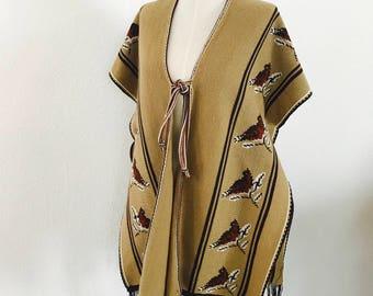 1970s - Vintage Sweater Poncho - Knitwear - Boho style - Bohemian - Desert Style