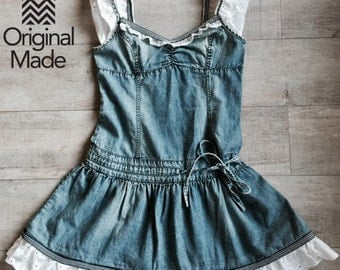Upcycled dress, Denim dress, Romantic, Summer