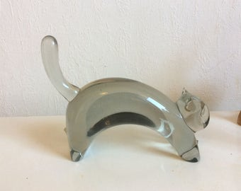 Vintage Gral glass cat by Livio Seguso excellent condition signed
