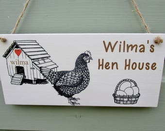 Handmade Personalised Chicken Plaque Garden.Hen House.Coop