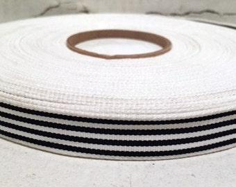 "5/8"" (16mm) preppy classic black and white stripes grosgrain ribbon"