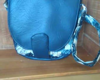 Blue roses fabric with vinyl shoulder bag