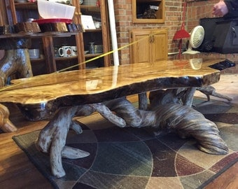 Live edge coffee table with twisted root base