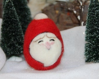 Handcrafted Needle Felted Wool Christmas Tree Ornament - Santa
