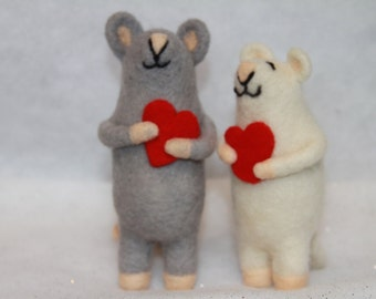 Handcrafted Needle Felted Valentine Mice with Hearts