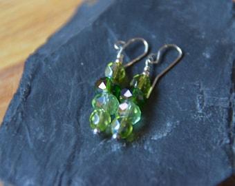 Green Czech Glass Beaded Drop Earrings