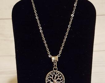 20 inch silver necklace with tree of life charm