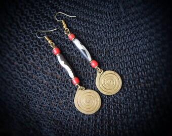 Long dangle Brass earrings | African Tribal Jewelry | beads & brass | handmade by Maasai women in Kenya