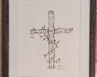 Old Rustic Cross (charcoal pencil) Framed & Matted